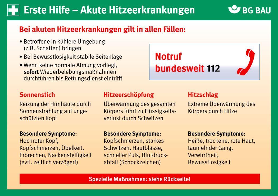 Symptome Hitzschlag BG Bau